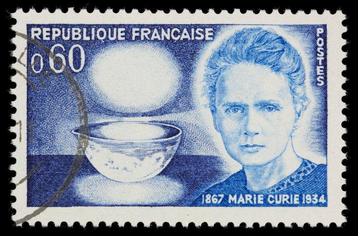 Timbre commémorant les 100 ans de Marie Curie émis en 1967