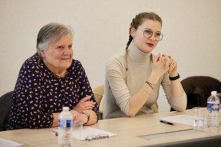 Albane Sonally et Marie-Marguerite Taylor lors de l'entretien avec Pierre Bédier © CD78 / N.Duprey