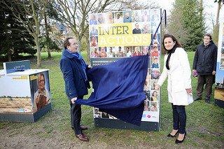 Pierre Bédier et Aurélie Gros lors de l'inauguration de l'exposition © CD78 / N.Duprey
