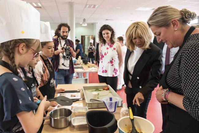 Brigitte Macron au collège Camille-gu-Gast à Achères © Corinne Jamet