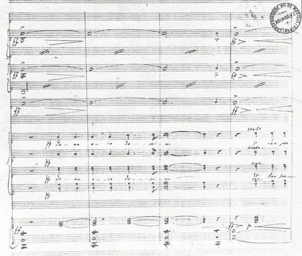 Extrait du manuscrit du Requiem de Fauré. Mesures 4–7 de l'« Introït » et du « Kyrie ». © Wikimédia