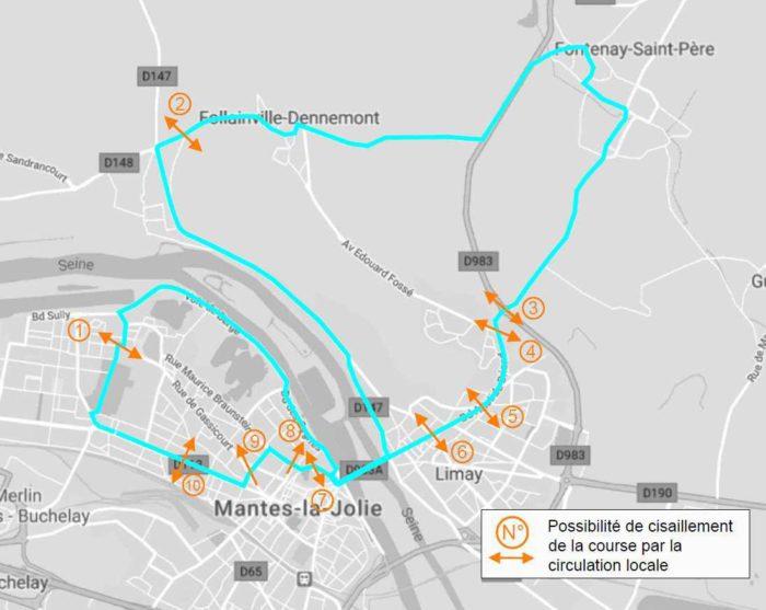 Circulation pendant les Championnats de France de cyclisme sur route © CD78