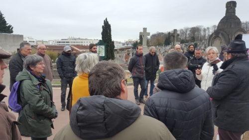 M.H. Aubert, Présidente du jury Villes et Villages Fleuris en visite sur la renaturation des cimetières, le 22 mars 2018